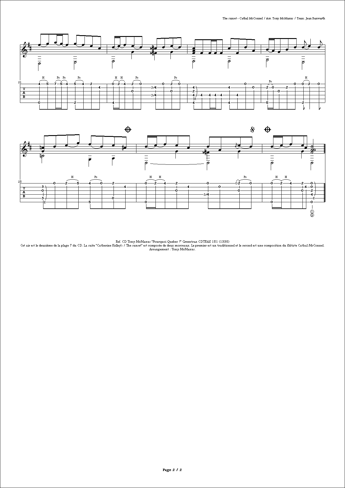 airs et tablatures de flatpicking